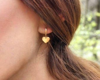 Hand-made Gold Heart Earrings / Gold Earrings Available in 14k Gold, White Gold or Rose Gold