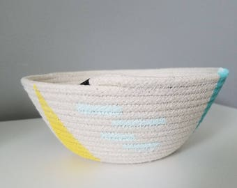 Hand Painted Rope Coil Bowl; odds and ends storage; key bowl; decorative bowl; natural home accents; housewarming gift