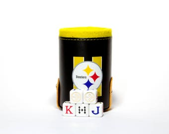 Pittsburgh Steelers Elegant Dice Cup with Storage Compartment. 5 Engraved Poker Dice