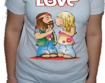 """Hippy LOVE"" printed VINTAGE t-shirt"