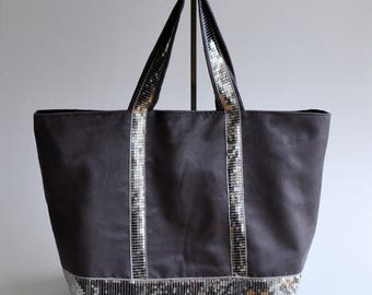Glitter silver gray suede tote bag handmade @lacouturebytitia women's fashion