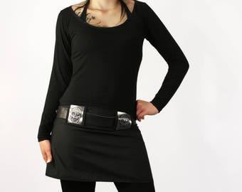 Black/chrome blink 'pin up' skull skirt up rock clothing