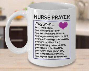 Nurse Prayer Coffee Cup, Funny Inspirational Mug for Nurses, Nurse Gift