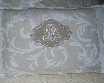 SHABBY CHIC PILLOW COVER BEIGE WHITE ARABESQUES