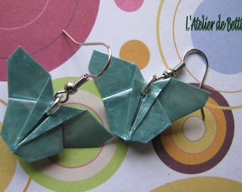 Blue color origami butterfly earrings