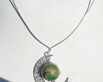 Original necklace, Moon pendant + wooden bead
