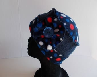 Hat CAP in Navy Blue fleece and polka dots