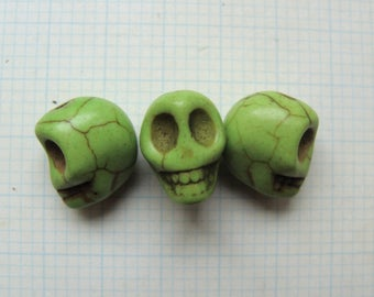 Set of 3 lime green howlite pattern 15mm skull beads