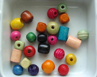 Set of 25 beads different wooden shapes colors 10 to 20 mm