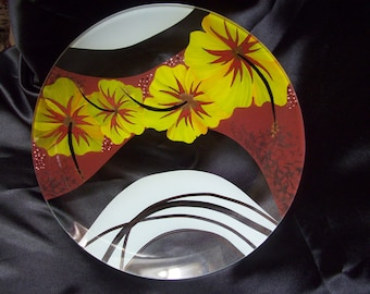 Hibiscus hand painted glass plate