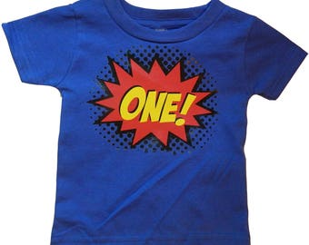 Superhero Comic Book First Birthday T-Shirt, Boys/Girls 1st Birthday, Action Figure Hero Bday Outfit