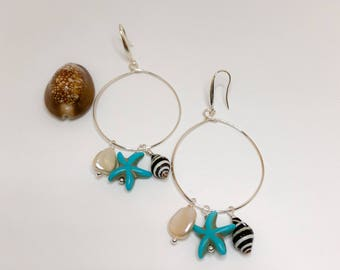 Silver Hoop Earrings with Sea Shells, Turquoise  Starfish and Fresh Water Pearls