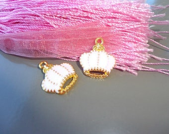 4 shape white enameled gold charms crowns