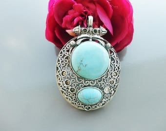 Pendant silver and turquoise oval, ethnic pendant 8.5 cm