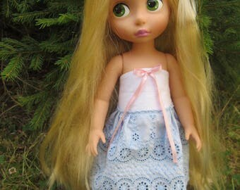 Disney animator doll dress - white and blue lace