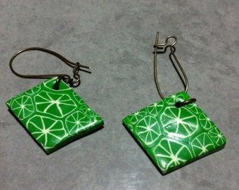 Earrings, polymer clay lemon cane