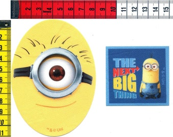 2 badges MINION iron or sew on 8 x 11cm and 6x5.5cm. Patch applique