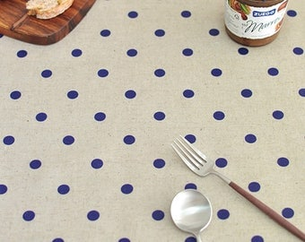 Vintage Dot Navy Laminated Linen Fabric Oilcloth Waterproof / BY HALF YARD  / Free Shipping /