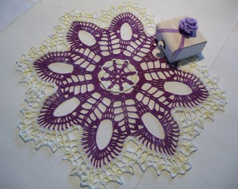 Handmade yellow ombre and purple cotton crochet lace doily.