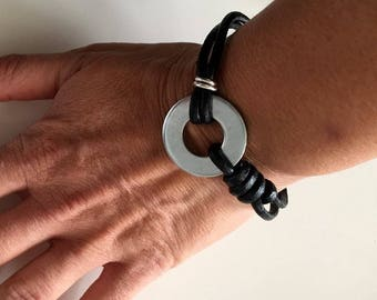 Bracelet leather and steel free shipping in France
