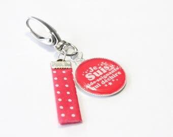 "Grigri keychain ""I'm a caregiver who rocks"" hot pink"