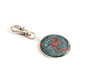 "Tirrette grigri ""SPIDERMAN"" coat zip case school bag or keychain"