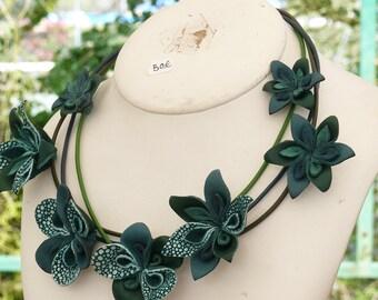 LEATHER jewelry original ORIGAMI, lightweight, natural
