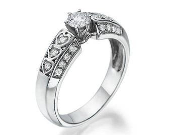 Engagement Ring With Hearts, 14K - 18K Gold + Diamonds