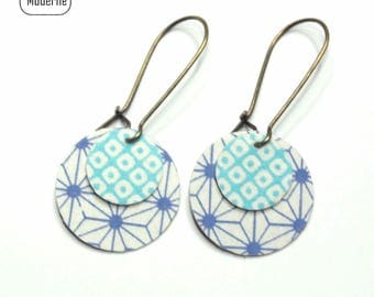 Earrings blue Japanese print