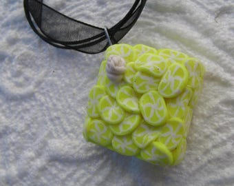 Sell lemon cake pendant necklace