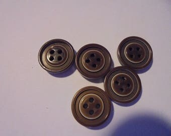 Set of 5 round Brown buttons plastic 9 mm