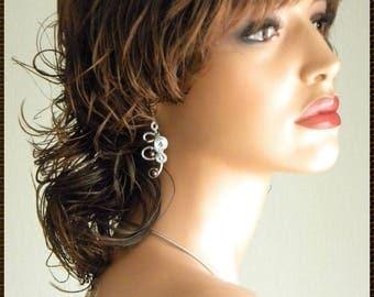 chocolate aluminum silver bridal wedding Pearl Earrings Pearl