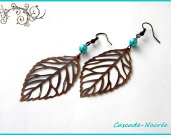 chocolate leaf turquoise bridal Pearl Earrings