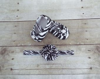 Bay shoes and headband, baby accessories, zebra shoes and headband,