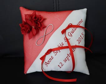 Red and white infinity love symbol cushion
