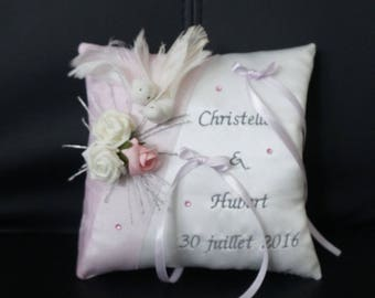 Powder Pink romantic wedding ring bearer pillow