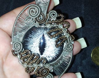 Hand painted Silver/Grey Dragon's Eye Pendant