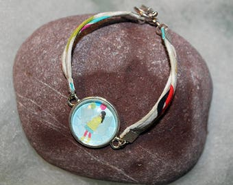 Bracelet with cabochon original * young girl with balloons *.
