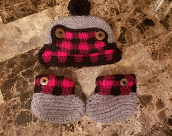 Plaid Crochet Hat and Booties Set- 0-3 months