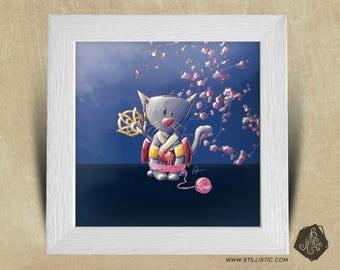 Frame square 25 x 25 with Geisha Japanese room boy kitten Illustration