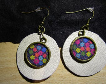 leather and brass with fabric charm earrings