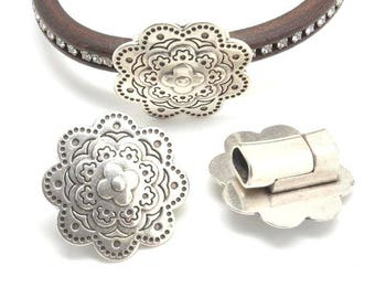 Metal Zamak magnetic clasp - Flower (38mm) - for leather oval (hole 10.5x7mm) - obsolete money