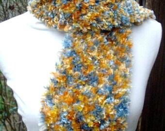 scarf, handmade, original, acrylic blue knit