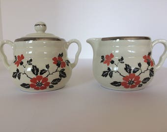 Hall Red Poppy Daniel Creamer and Lidded Sugar Bowl Set, Vintage