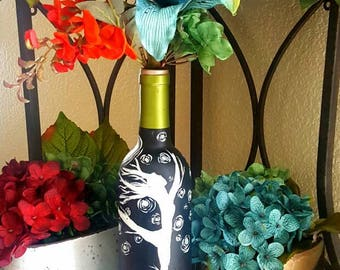"""Decorative wine bottle """"dancer of the forest"""" hand made. One of a kind."""