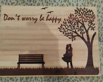Cutting board with a romantic picture