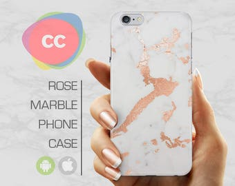 Rose Gold Marble Phone Case / iPhone 7 Case / Marble iPhone 6S, 6, 5, 5S, SE, Plus Case / Samsung Galaxy S8, S7, S6 Case - PC-205