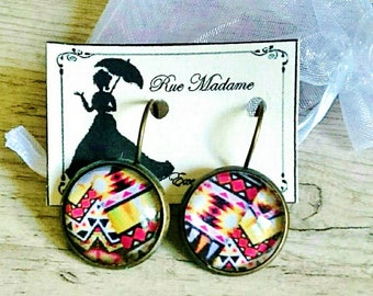Round red yellow black earrings - ethnic-inspired