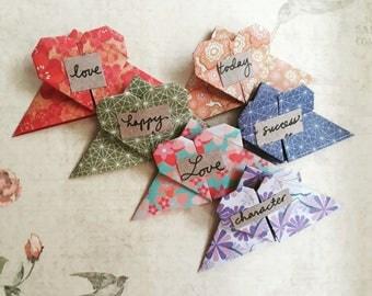 Origami Heart Bookmark, Origami Bookmark, Handmade Bookmark, Kraft Paper, Corner Bookmark, Page Marker, Back to School