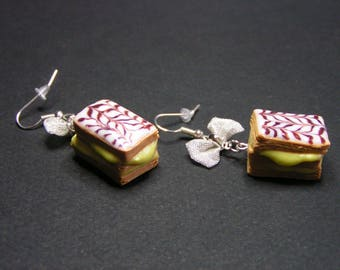 thousand leaves with polymer clay bow earrings